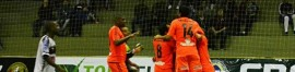 O time do Flu comemora gol marcado sobre o Juventus no Brasileiro de Fut7